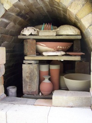 inside Jon Hook's wood kiln in Indiana, USA
