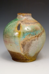 jar with oribe glaze.